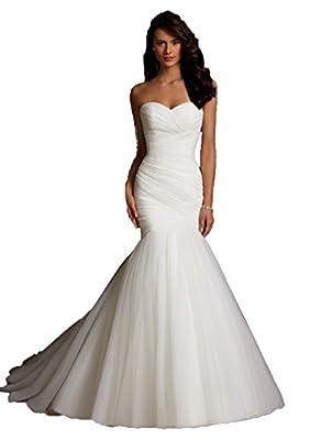 Long Shuang Women's Simple Chiffon Sweetheart Mermaid Wedding Dress