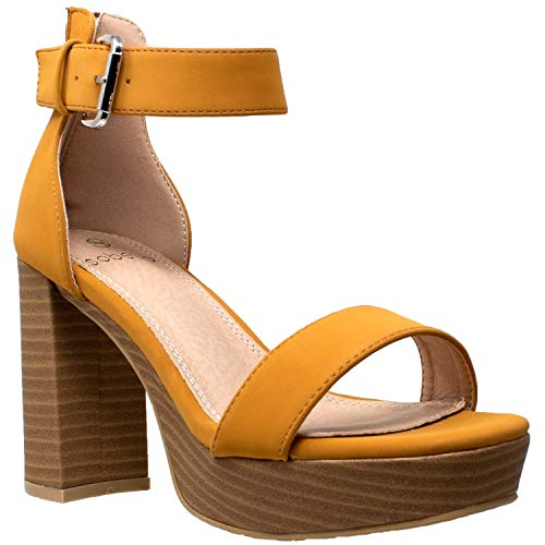 5 1/2 Inch Ankle Strap Platform - Women's High Platform Sandals Ankle Strap Chunky Block Heels Open Toe Shoes Yellow SZ 5