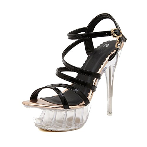 New-Loft 14cm High-Heels Waterproof Thick Bottom Thin Heels Model Car Show Nightclub Sandal Shoes MRNS-A0037,Gold,38 (Club Cab Models)
