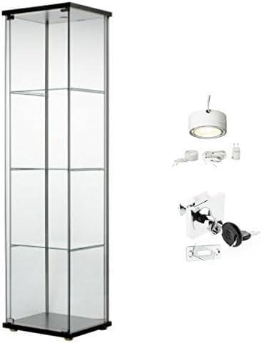 IKEA DETOLF cristal Curio vitrina negro, con cerradura, luz y bloqueo incluido