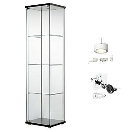 Ikea Detolf Glass Curio Display Cabinet Black Lockable Light and Lock Included  sc 1 st  Amazon.com & Amazon.com: Ikea Detolf Glass Curio Display Cabinet Black Lockable ...