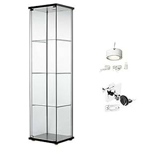 Ikea detolf cristal curio vitrina negro con cierre para - Vitrina cristal ikea ...