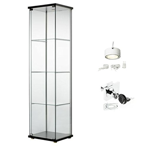 Ikea detolf glass curio display cabinet black lockable light and lock inclu - Vitrine en verre ikea ...