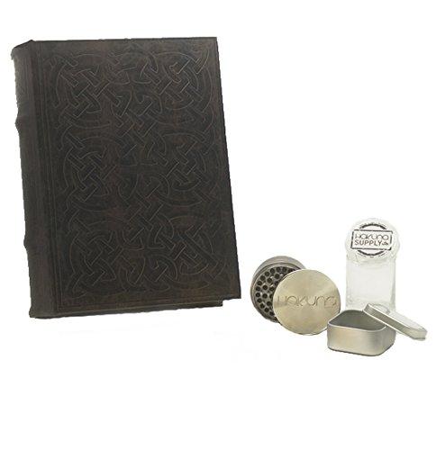 New Stash Tin - Hakuna Supply XL Celtic Knot Book Storage Box Kit - Bamboo Stash Jar, Herb Grinder, Concentrate Tin/Ash Tray Stash Box Combo