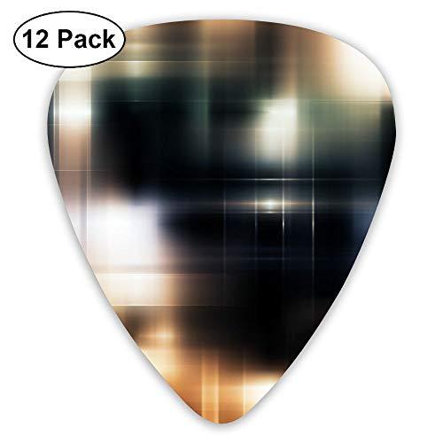 12-Pack Fashion Classic Electric Guitar Picks Plectrums Glare Squares Light Instrument Standard Bass Guitarist