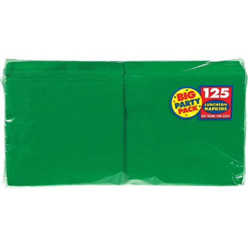 Amscan Durable Big Party Pack Plain Luncheon Napkins Tableware, Green, Paper, 6'' x 6'', Pack of 125 Childrens (750 Piece)