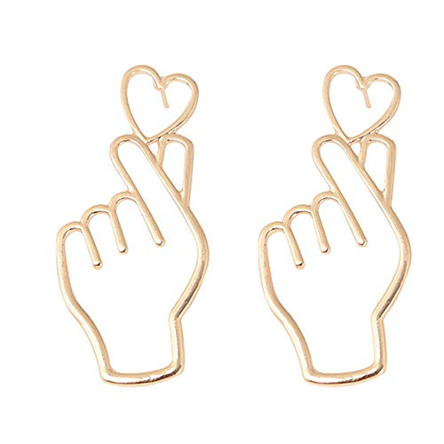Libobo1 Pair Finger Heart Alloy Earrings Hollowed Out Love Ear Ornaments Jewelry (Gold)
