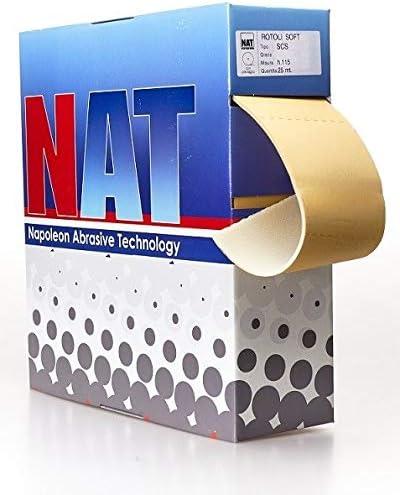 rollo de papel de lija P180/con soporte de espuma cosparsione abierta pesoA estearato de /Óxido de Aluminio Doble Resina Antiest/ático Color Amarillo altura 115/mm de longitud 25/metros precortado