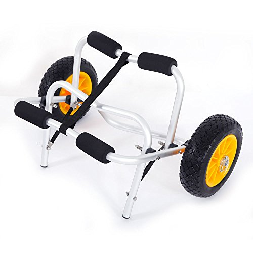 Lykos 1.5MM Plug Pin Aluminum Alloy Canoeing Trailer Cart Kayak Dolly Boat Canoe Trolley Tote Towing Cart Transport Carrier with Wheels by Lykos