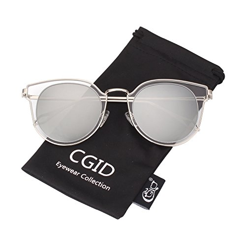 CGID MJ86 Womens Fashion Double Circle UV400 Mirrored Lens Metal Frame Oversized Polarized Sunglasses from CGID