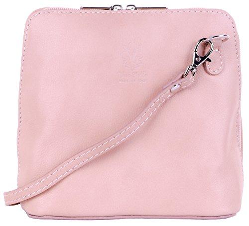 Primo Sacchi Genuine Italian Soft Light Pink Leather, Small/Micro Cross Body Bag or Shoulder Bag Handbag. Includes a Protective Storage - Handbag Italian Pink