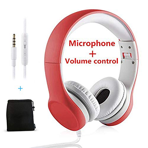 Yusonic Kids Headphones,Volume Limiting and Audio Sharing Port,Play for School Boys Girls Children Toddlers Tablet(red)