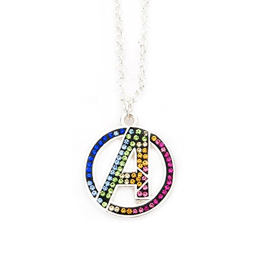(INOX Marvel Rainbow Gem Avengers Pendant Silver Plated Necklace)