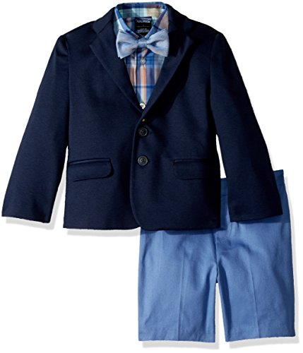 Nautica Toddler Boys' Suit Set with Jacket, Pant, Shirt, and Bow Tie, Sail Blue Denim, 2T by Nautica