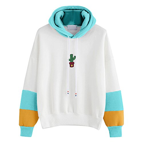 Amazon.com: Yiqianzhaobiao Womens Long Sleeve Cactus Print Stitching Hoodie Sweatshirt Hooded Pullover Tops Blouse: Clothing