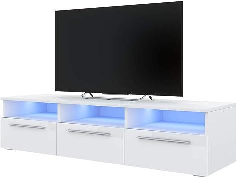 Selsey LAVELLO - Mueble TV con LED/Mesa TV Estilo Nórdico/Mueble para Salón / 140 cm (Blanco Mate/Blanco Brillante): Amazon.es: Electrónica