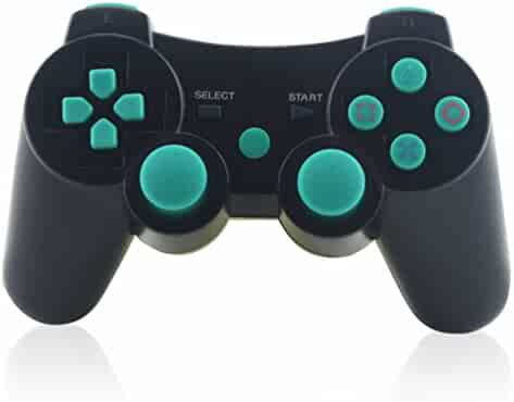 PS3 Controller, TONSUM Wireless Bluetooth Double Vibration Game Remote Control Joystick Multi-Media Game Joypad for SONY PS3 with Charger Cable (Blue) --BUY FROM FACTORY STORE: Marstore