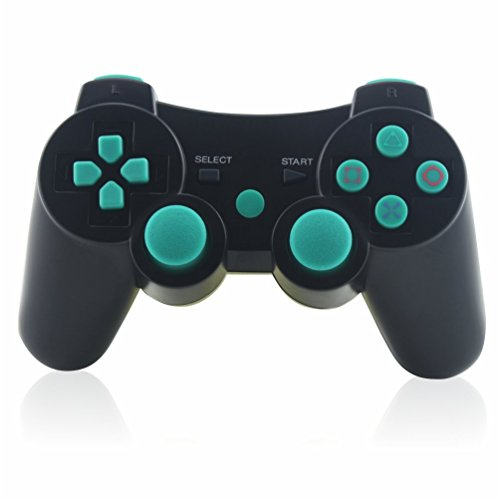 PS3 Controller, TONSUM Wireless Bluetooth Double Vibration Game Remote Control Joystick Multi-Media Game Joypad for SONY PS3 with Charger Cable (Red 7 Media)