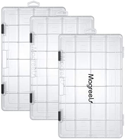 Magreel Fishing Tackle Boxes, 3-Pack Transparent Fish Tackle Storage with Adjustable Dividers, Waterproof Plastic Box Organizer 3600 3700 Tackle Trays