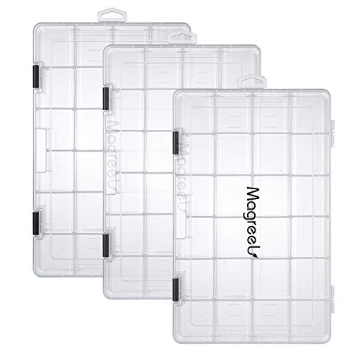 Magreel Fishing Tackle Boxes, 3-Pack Transparent Fish Tackle Storage with Adjustable Dividers, Waterproof Plastic Box Organizer 3600/3700 Tackle Trays