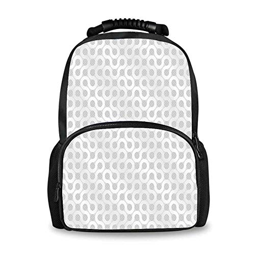 Grey and White Adorable School Bag,Abstract Circling Wavy Geometric Round Oval Knot Pattern Simple Flow Artwork for Boys,12