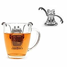GOOTRADES Loose Tea Leaf Tea Infuser Set with Drip Tray, Stainless Steel (Robot and Frog Shaped)