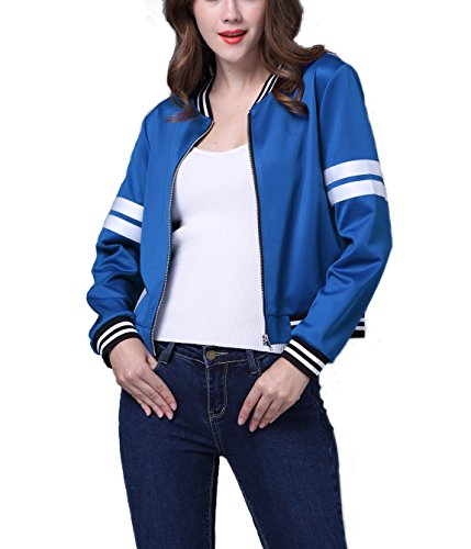 HowFitU Women Fashion Basic Casual Blue Baseball Zipper Jacket Outwear Coat (Hockey Halloween Blue Jackets)