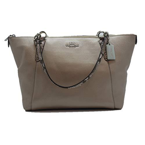 Coach Metallic Leather Exotic Trim AVA Tote Handbag, Platinum (Coach Handbags Embossed)