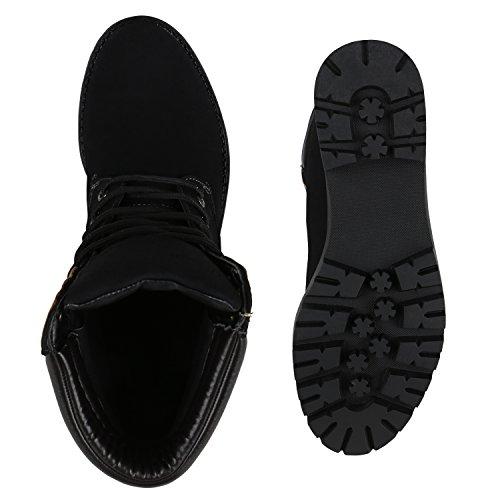 Stiefelparadies Damen Worker Boots Leicht Gefütterte Outdoor Schuhe Profilsohle Flandell Schwarz Black