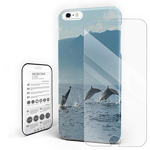Protective Phone Case for iPhone 6 plus/6s Plus Case Cover, Group of Dolphin Ocean Marine Natural Surf Life, Shockproof Anti-Scratch Hard Back Case with Tempered Glass Screen Protector
