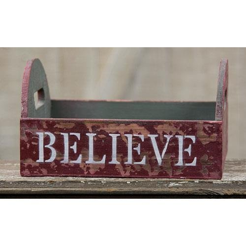 Heart of America Believe Primitive Wood Crate