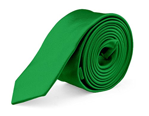 - Ties For Mens Skinny Slim Silk Finish Fashion Long Necktie - Solid Color MDR - Green
