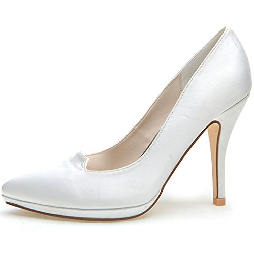 Clearbridal Women's Pointed Toe Satin Wedding Bridal Shoes Pumps Heels for Evening Prom Party ZXF0255-09A White GrlDQV