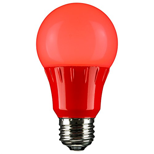 Sunlite 80148 Red LED A19 3 Watt Medium Base 120 Volt UL Listed LED Light Bulb, last 25,000 Hours (Red Bulb Led Light)