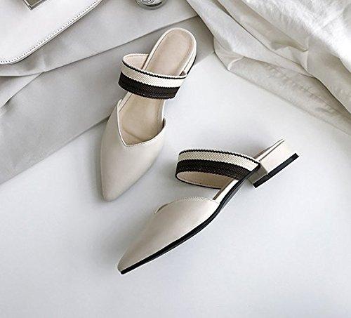 Angrousobiu Sommer Sommer Sommer Tipp niedrig zu Baotou Sandalen weibliche Hälfte Leder Hausschuhe 1d6c4c
