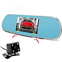 KOBWA Dual Lens Dash Cam, 5 Inch 1080P HD Car Camera,Android GPS Navigation Bluetooth WiFi Car Video Recorder for Vehicles Rearview Mirror+Rearview Camera Parking Monitor