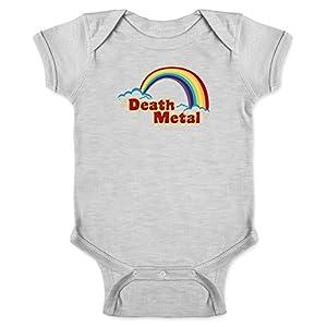 Pop Threads Death Metal Retro Rainbow Gray 6M Infant Bodysuit