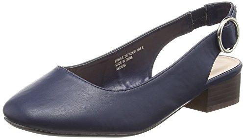 Caviglia Scarpe 23 Navy Donna Cinturino col Fiona Tacco Evans con Dietro la Blu 6UwH8Wq