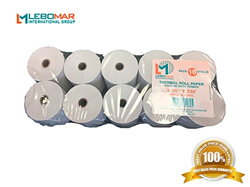 LEBOMAR INTERNATIONAL Thermal Paper Rolls 3-1/8 x 230ft (Box of 10 Rolls Sealed Pack) For POS receipts Printers & Cash Register White – # 1 Voted by Manufacturers and Retailers (International Thermal)