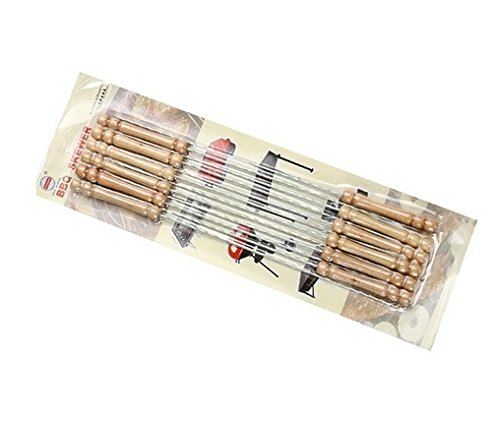 12 Set of Stainless Steel Barbecue Skewers with Wood Handle Marshmallow Roasting Sticks Meat Hot Dog Fork Best for BBQ Camping Cookware Campfire Grill (Womens Poisonous Costume)