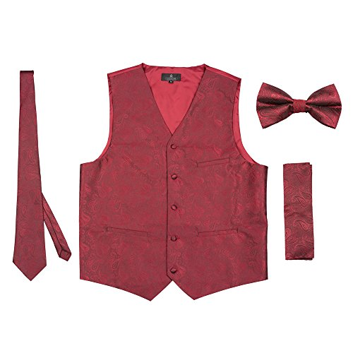 Burgundy Vest Set - Vittorino Men 's 4 Piece Formal Paisley Vest Set With Tuxedo Vest Tie Hankerchief Bow Tie,Burgundy,XX-Large