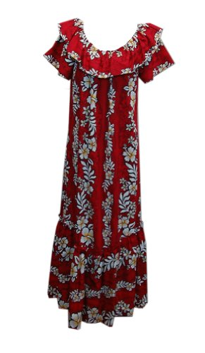 Jade Fashions Inc. Women Hawaiian Long Double Ruffle Hibiscus Red Muumuu-Red-M (Ruffle Muumuu)