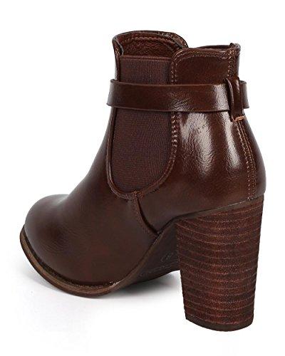 DbDk DK80 Women Leatherette Belted Chunky Heel Zip Chelsea Bootie Brown Leatherette 03JRa