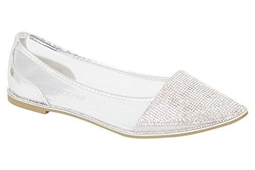 Pompe Donna Dolly Wardrobe Sandali Nuovo Da Piatta Party Silver Diamante Ballerina Scarpe Flirty ptYqWY