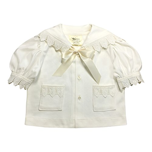 Victorian Organics Baby Girl Sailor Set 4 Piece Organic Cotton Knit and Eyelet Lace Trim Jacket Hat Dress and Bloomers (NB 0-3 months) by Victorian Organics (Image #8)