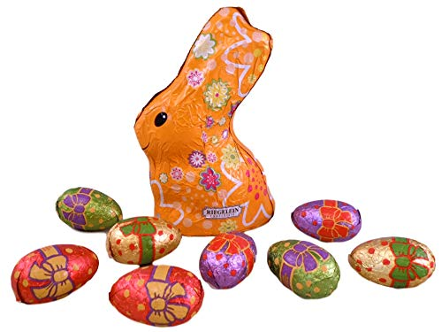 Riegelein Confiserie Flower Line Easter Bunny Bundle - 2 Items: Free Trade Chocolate Bunny and Eggs (Orange Bunny)