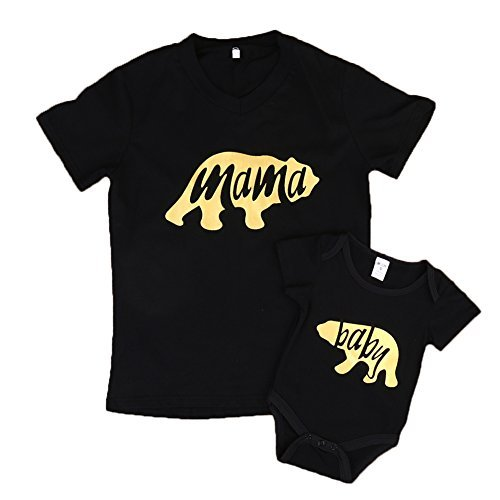 Ma&Baby Matching Set Bodysuit Bear Cartoon Shirt Romper Family Clothes Outfits (M, Mama's) -