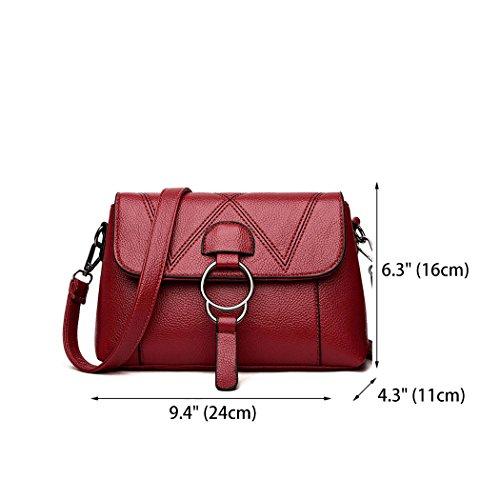 Bags Cross Bags Handbags Leather Women's Body Top Burgundy Handle Shoulder Bags Faux pRW6BF4n