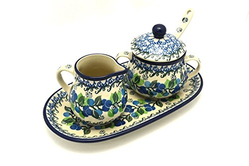 Polish Pottery Cream & Sugar Set with Sugar Spoon - Blue Berries