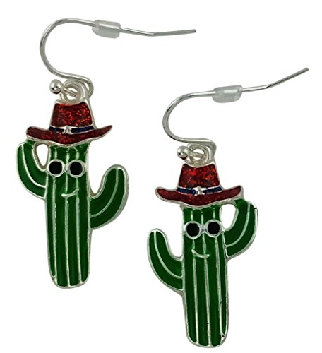 Patriotic Cactus Earrings with Red, White and Blue Hat - Red Fish Blue Fish Costume Ideas